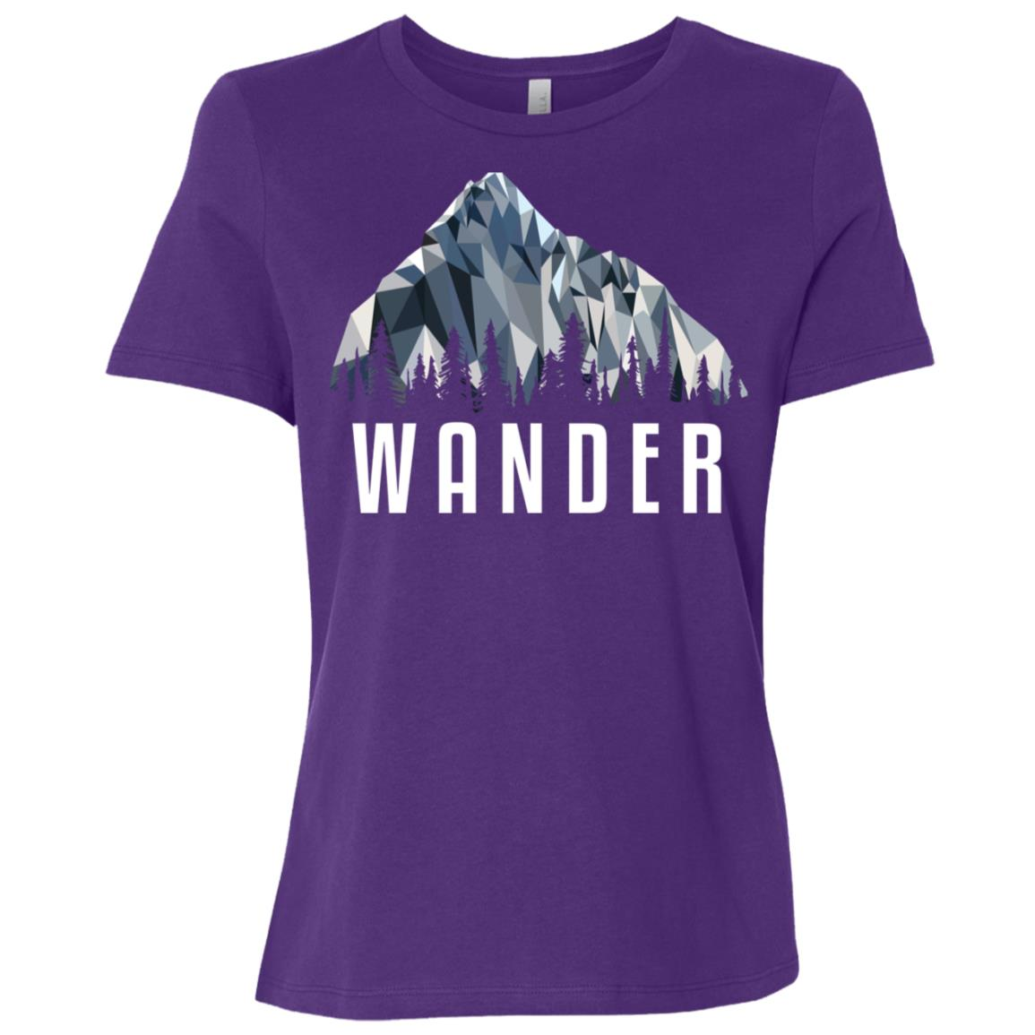 Funny Hiking Wander Low Poly Gift Women Short Sleeve T-Shirt