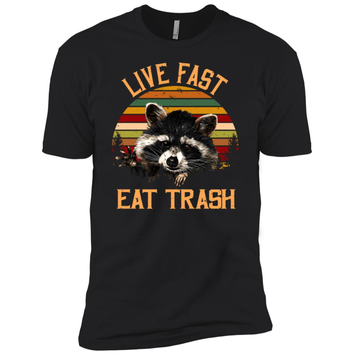 Live Fast Eat Trash Bear Vintage Campings Men Short Sleeve T-Shirt