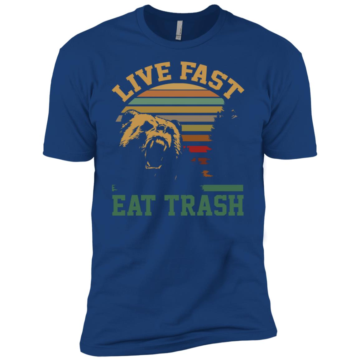 Live fast eat trash bear vintage camping Tee Men Short Sleeve T-Shirt