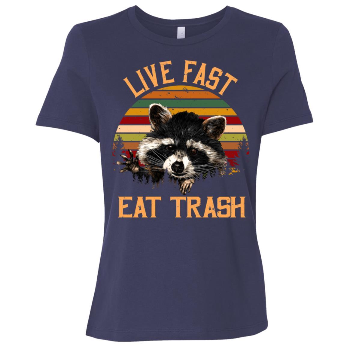 Live Fast Eat Trash Bear Vintage Campings Women Short Sleeve T-Shirt