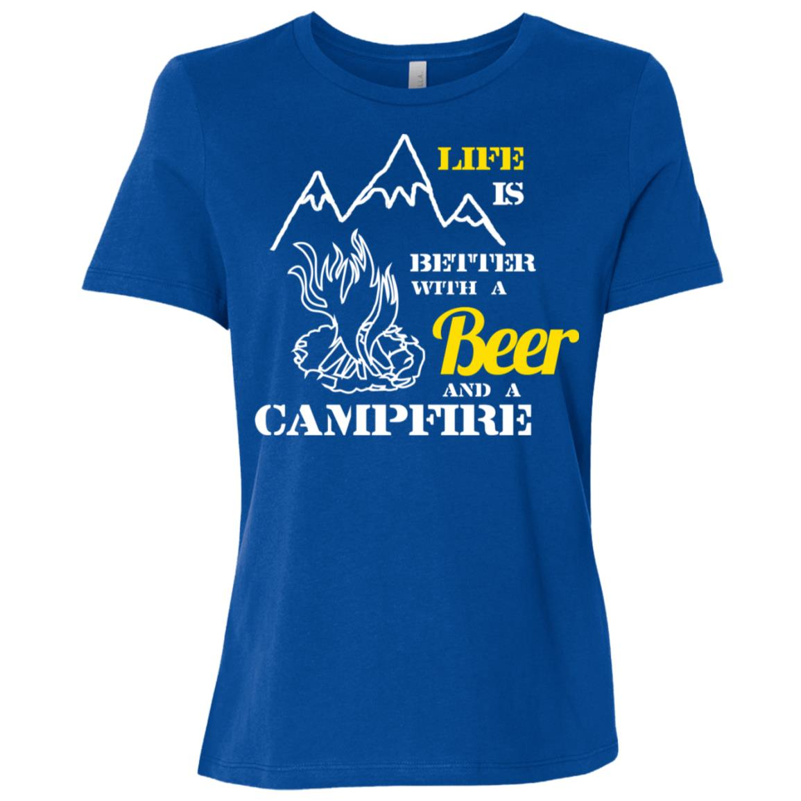 Life Is Better With Beer & Campfire Camping Women Short Sleeve T-Shirt