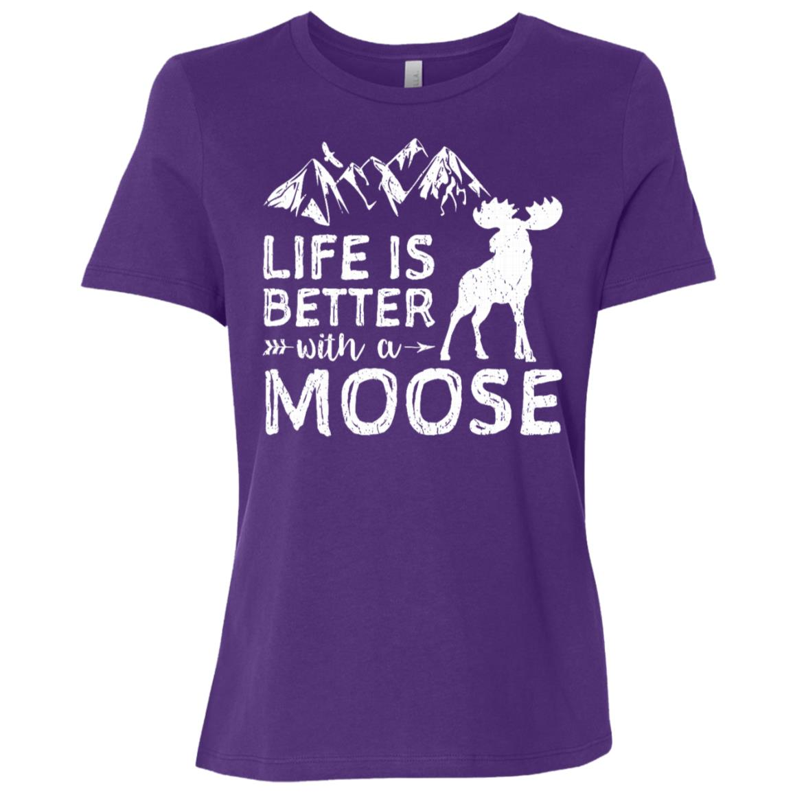Life Is Better With A Moose Hiking Women Short Sleeve T-Shirt