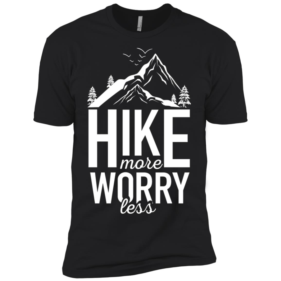 Hike More Worry Less Funny Hiking Novelty for Hikers Men Short Sleeve T-Shirt