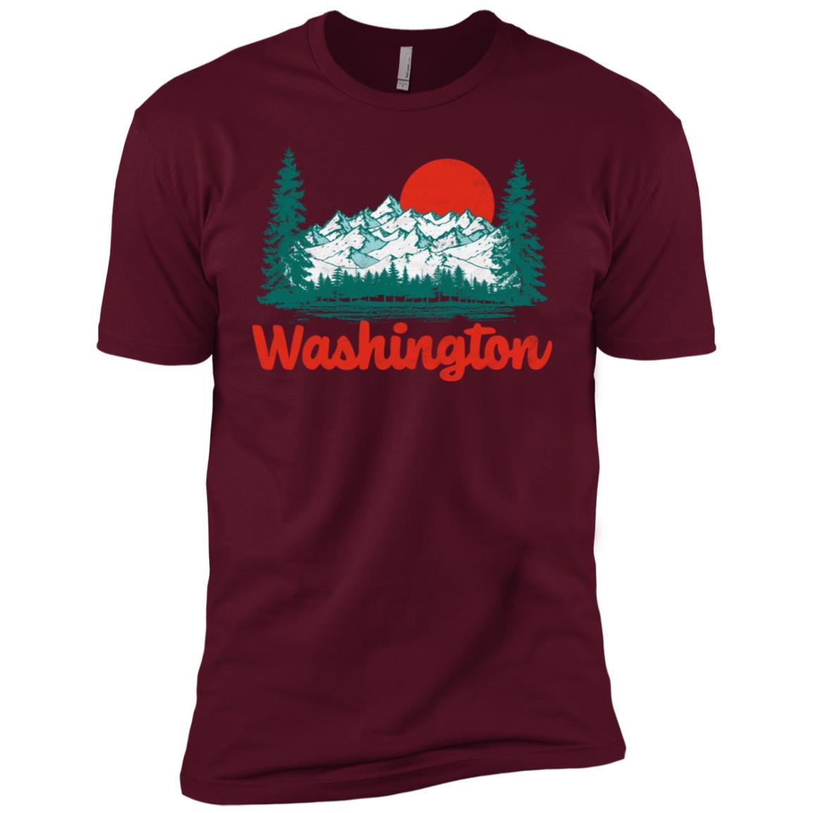 Retro Washington Vintage 80s State Pride Tee Men Short Sleeve T-Shirt