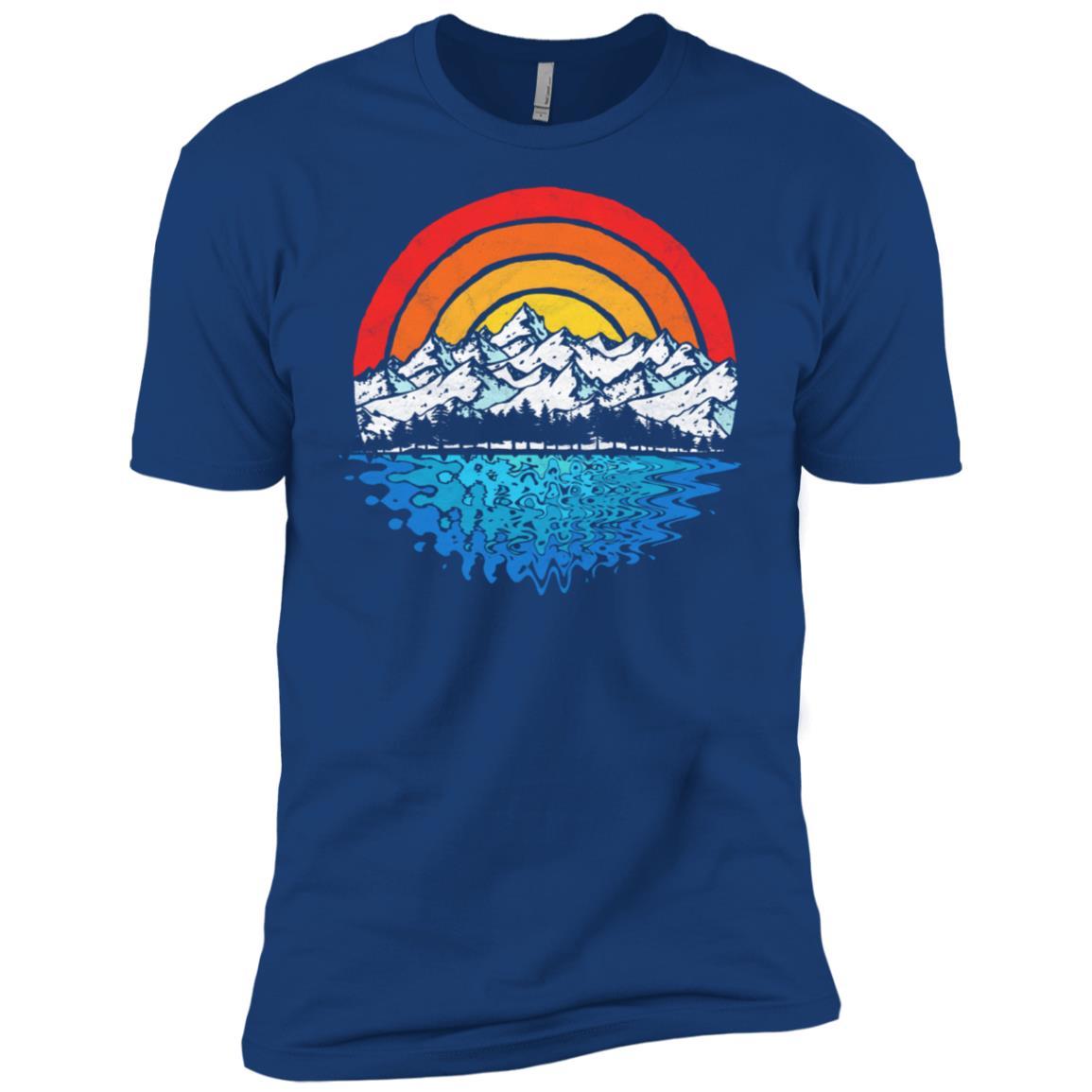 Retro Mountain, Trees & Lake Vintage Nature Tee Men Short Sleeve T-Shirt