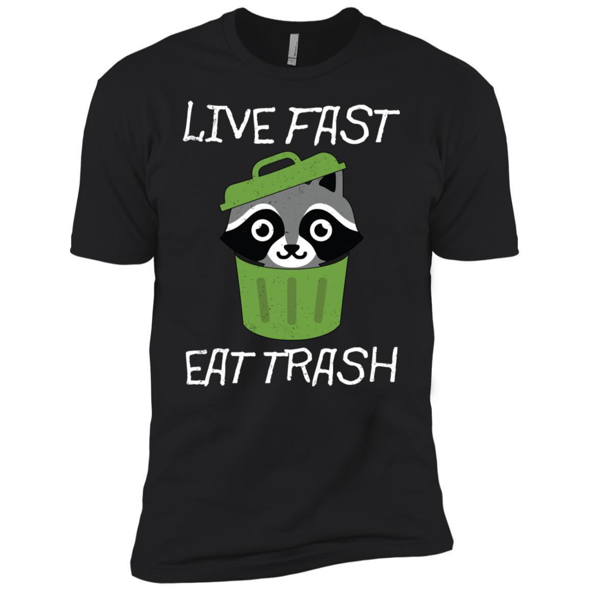 Live Fast Eat Trash Raccoon Camping Retro Gift Hiking Men Short Sleeve T-Shirt