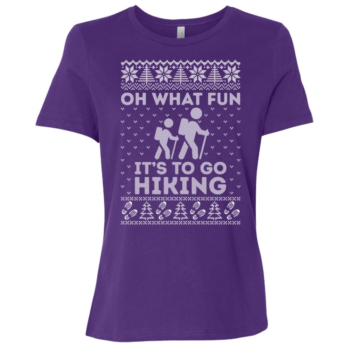 Oh What Fun Its To Hiking Christmas Ugly Sweater -3 Women Short Sleeve T-Shirt