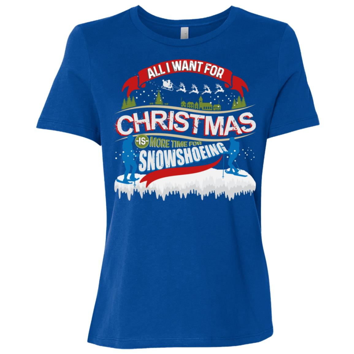 Love Snowshoeing Funny Ugly Christmas Day Snowshoe Xmas Gift Women Short Sleeve T-Shirt