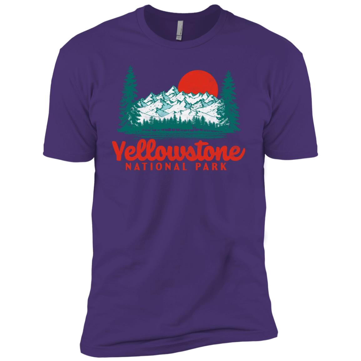 Vintage Yellowstone Mountains Scene 80's Tee Men Short Sleeve T-Shirt
