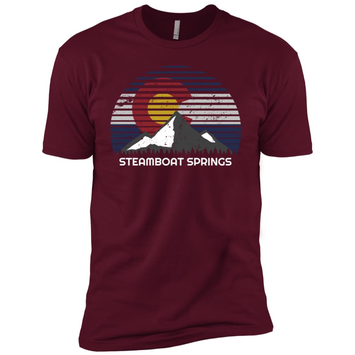 Steamboat Springs, Colorado x Co Flag Mtn Top Men Short Sleeve T-Shirt