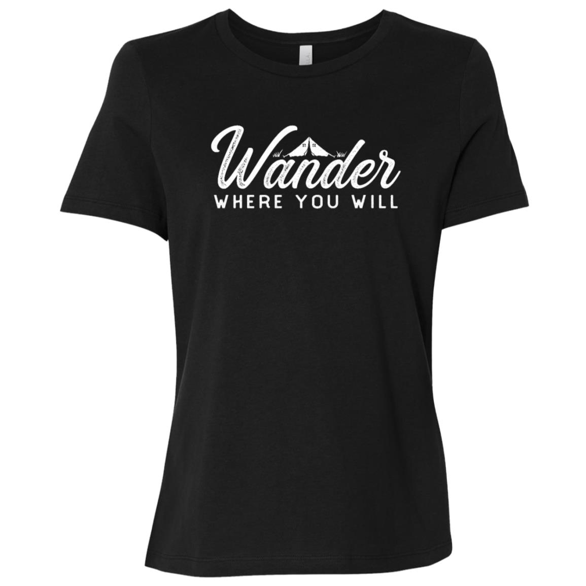 Wander Where You Will – Distressed Camping Tee Women Short Sleeve T-Shirt