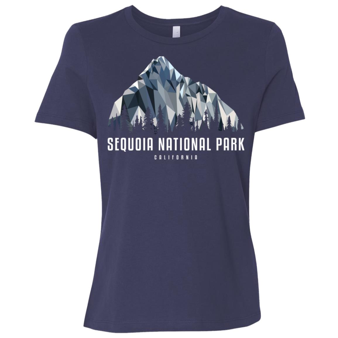 Sequoia National Park Low Poly Mountains Cool Gift Women Short Sleeve T-Shirt