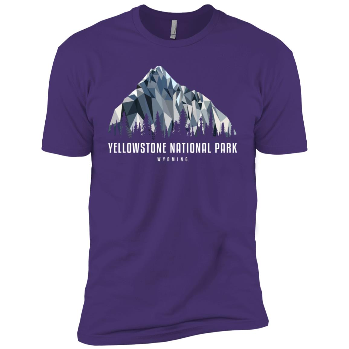 Yellowstone National Park Low Poly Mountains Cool Gift Men Short Sleeve T-Shirt