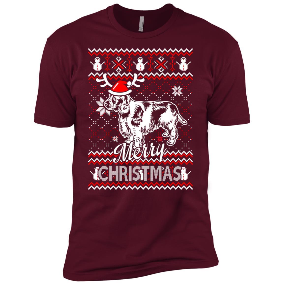 Field Spaniel dog merry christmas ugly sweater Men Short Sleeve T-Shirt