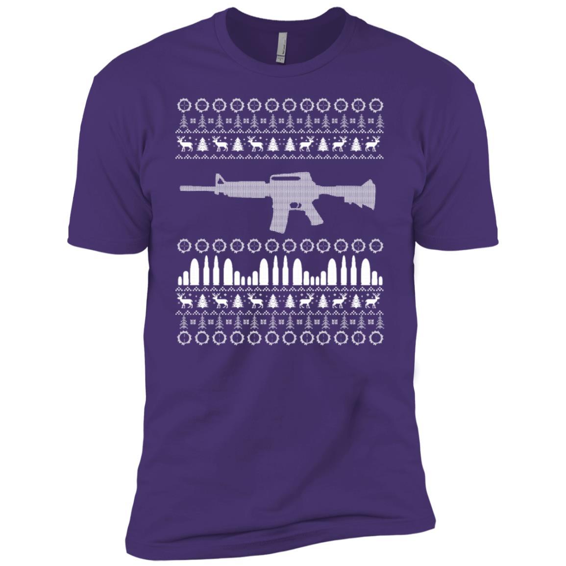 Ar-15 Machine Gun Ugly Christmas Sweater Ls Tee White Print Men Short Sleeve T-Shirt