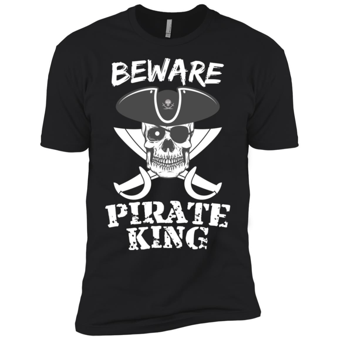 Beware Pirate King Skull Pirate Motorcyclists Men Short Sleeve T-Shirt