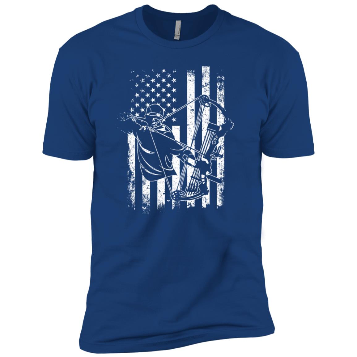Archery Bow Hunting Compound Bow Hunter American Flag Men Short Sleeve T-Shirt