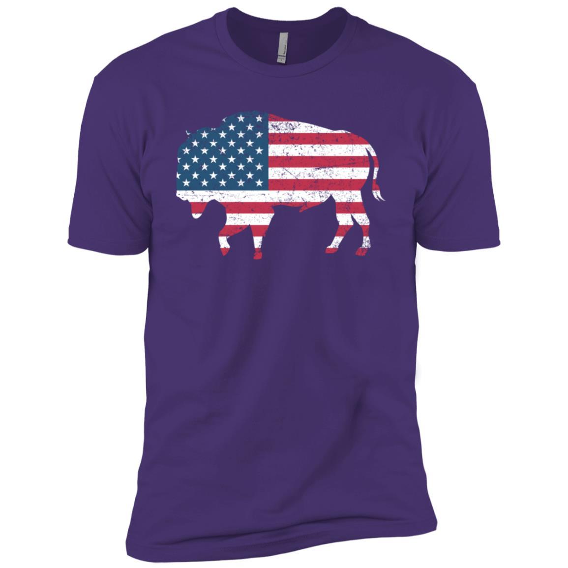 American flag Usa buffalo Patriotic Bison Men Short Sleeve T-Shirt
