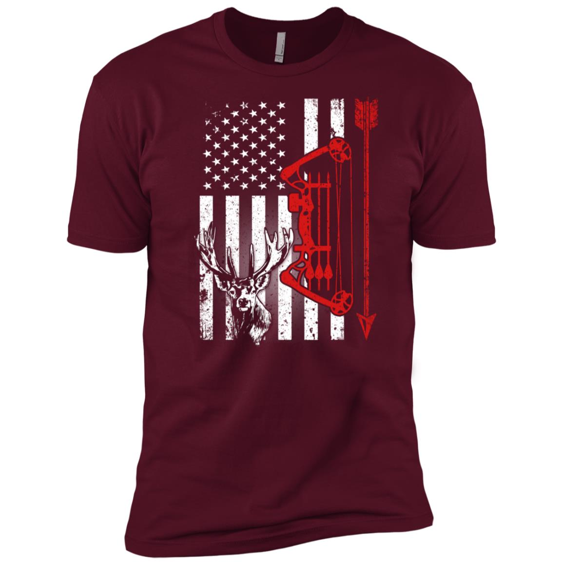American Deer Hunting Bow Hunter Flag Hunter Men Short Sleeve T-Shirt