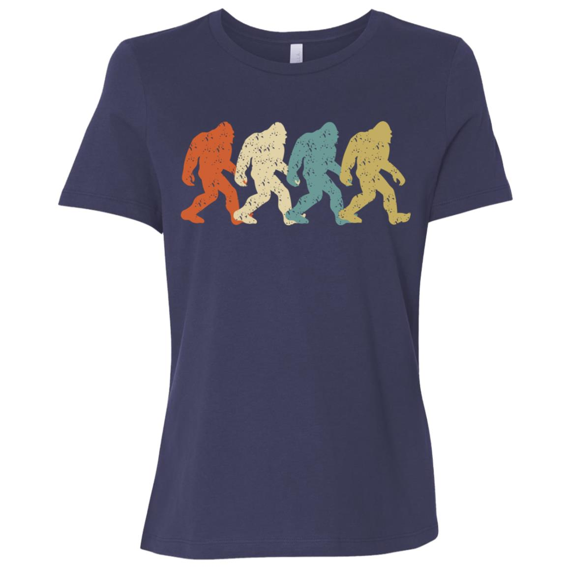 Bigfoot Silhouette Retro Cute Vintage Yeti Tee Gift Women Short Sleeve T-Shirt