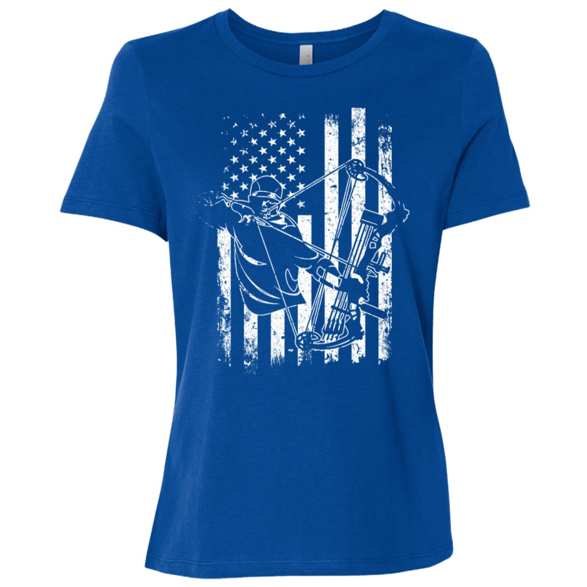 Archery Bow Hunting Compound Bow Hunter American Flag Women Short Sleeve T-Shirt
