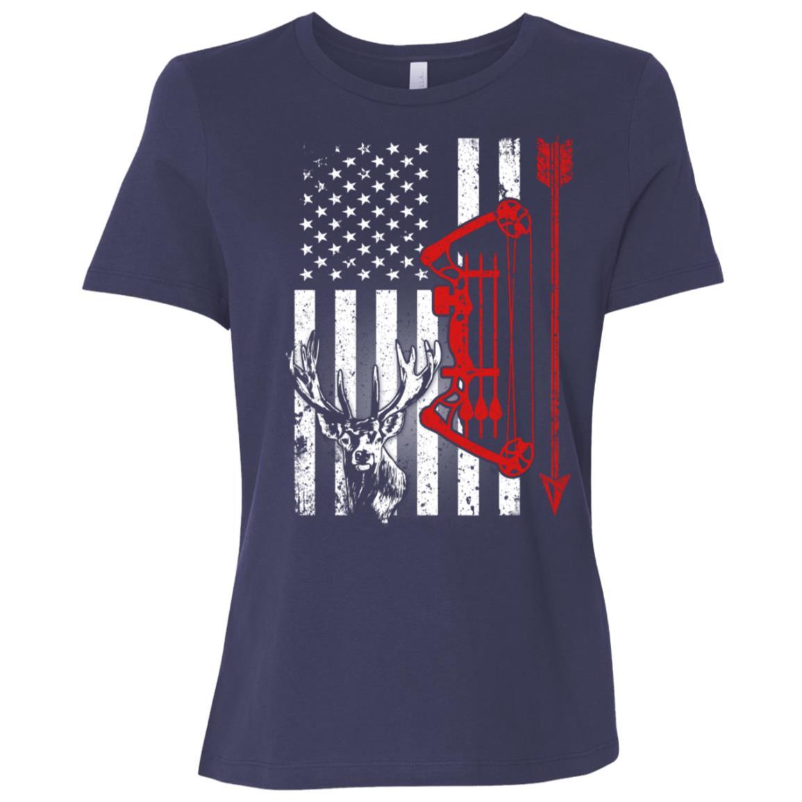 American Deer Hunting Bow Hunter Flag Hunter Women Short Sleeve T-Shirt