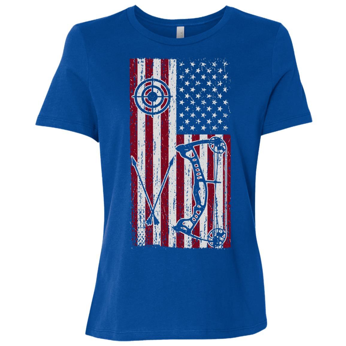 American Bow Hunter Us Flag Bow Hunting Women Short Sleeve T-Shirt
