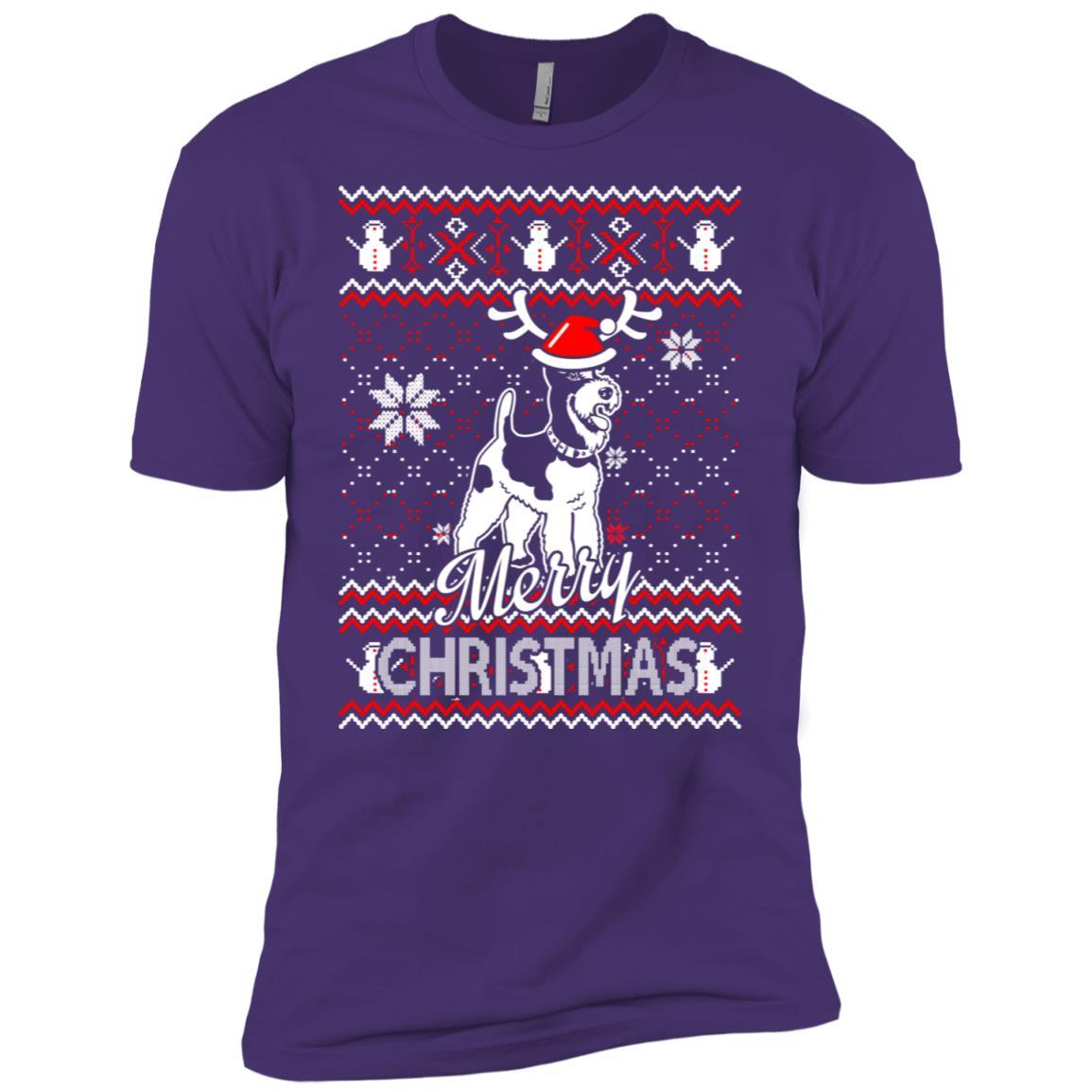 Fox Terrier dog merry christmas ugly sweater Men Short Sleeve T-Shirt
