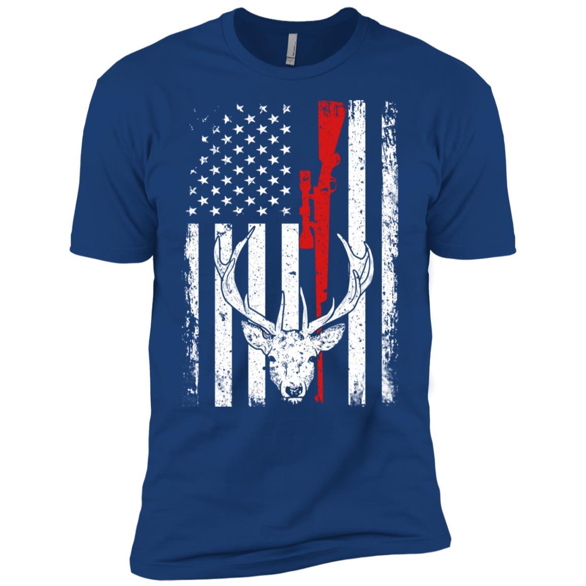 Deer Hunting American Flag Patriotic gift for Hunter Men Short Sleeve T-Shirt