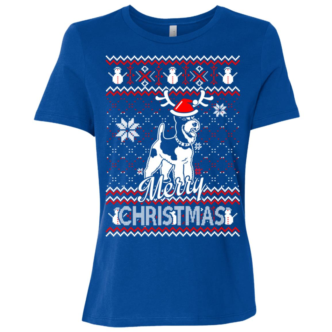Fox Terrier dog merry christmas ugly sweater Women Short Sleeve T-Shirt