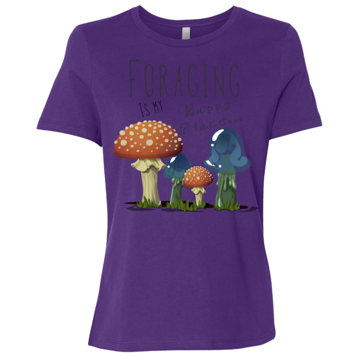 foraging designs mycology art foraging is my happy place Women Short Sleeve T-Shirt