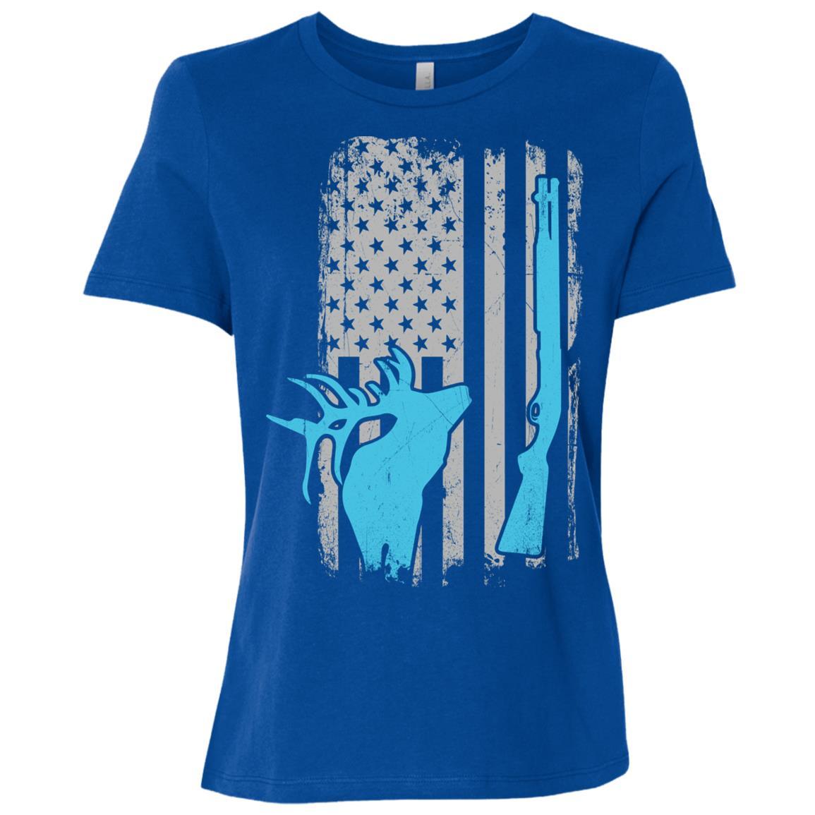 Elk Hunting Slug Gun Shotgun American Flag Women Short Sleeve T-Shirt