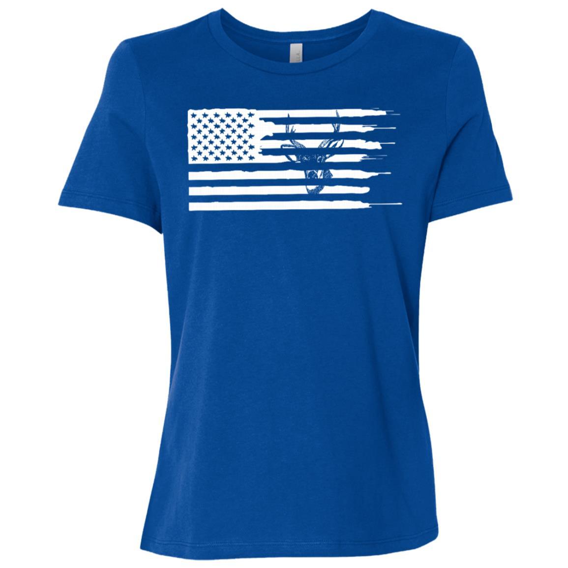 Deer Hunting American Flag Women Short Sleeve T-Shirt