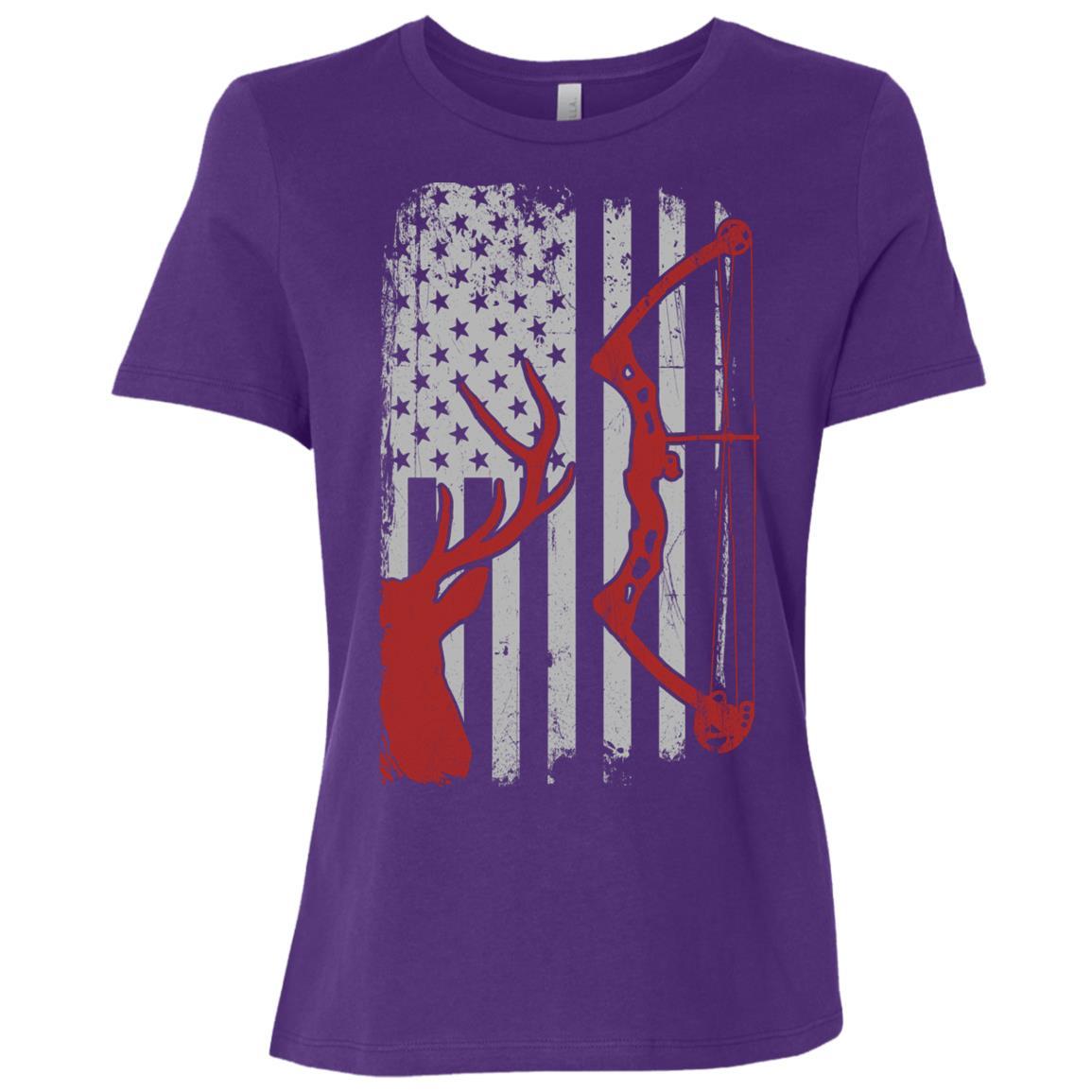 Deer Hunting – American Flag Bowhunting Women Short Sleeve T-Shirt