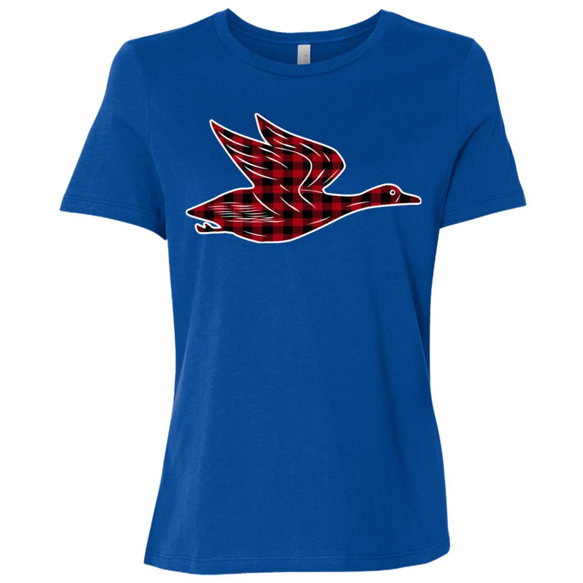 Flying Duck Buffalo Plaid Women Short Sleeve T-Shirt