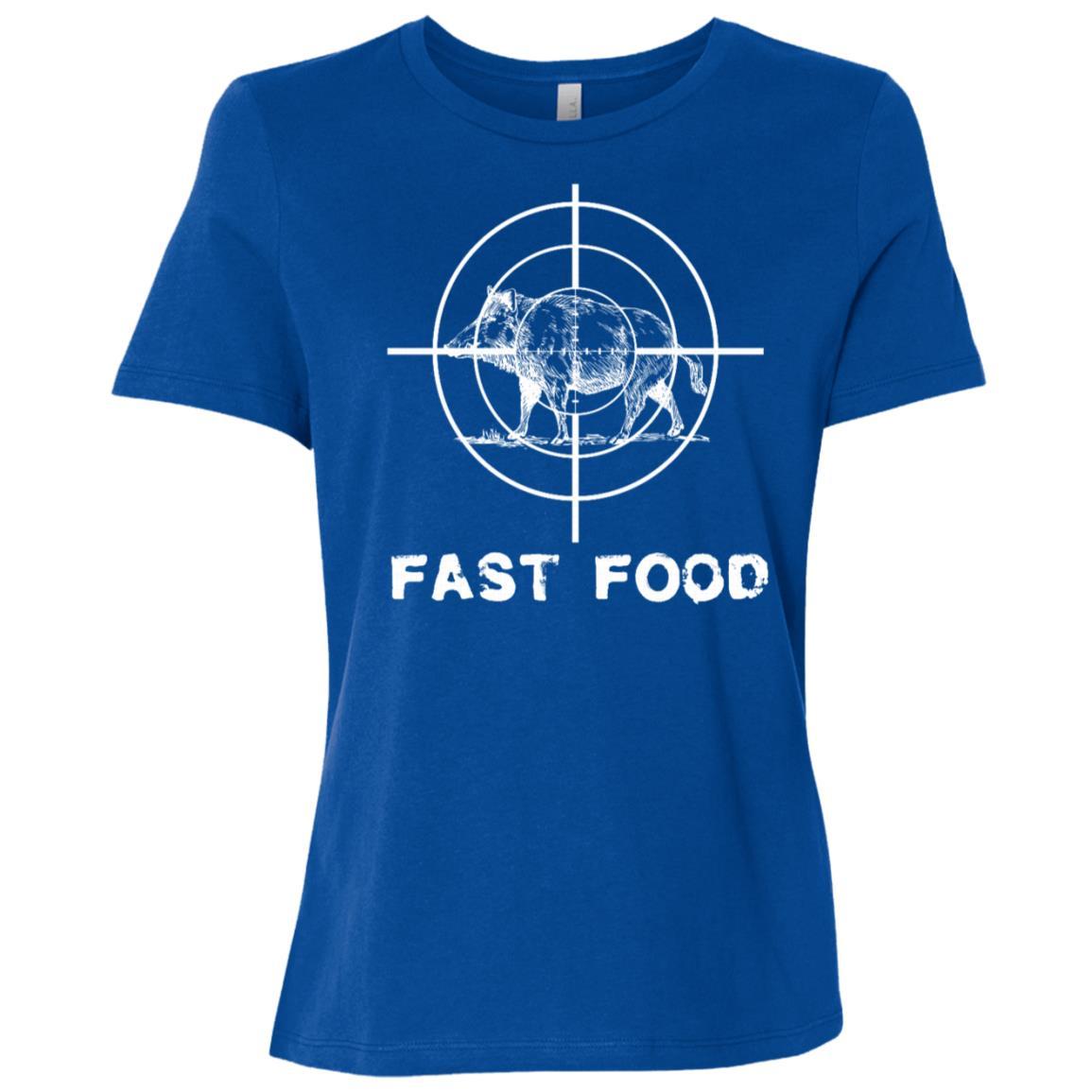 Fast Food Hog Hunter Rather Be Wild Boar Hunting Women Short Sleeve T-Shirt