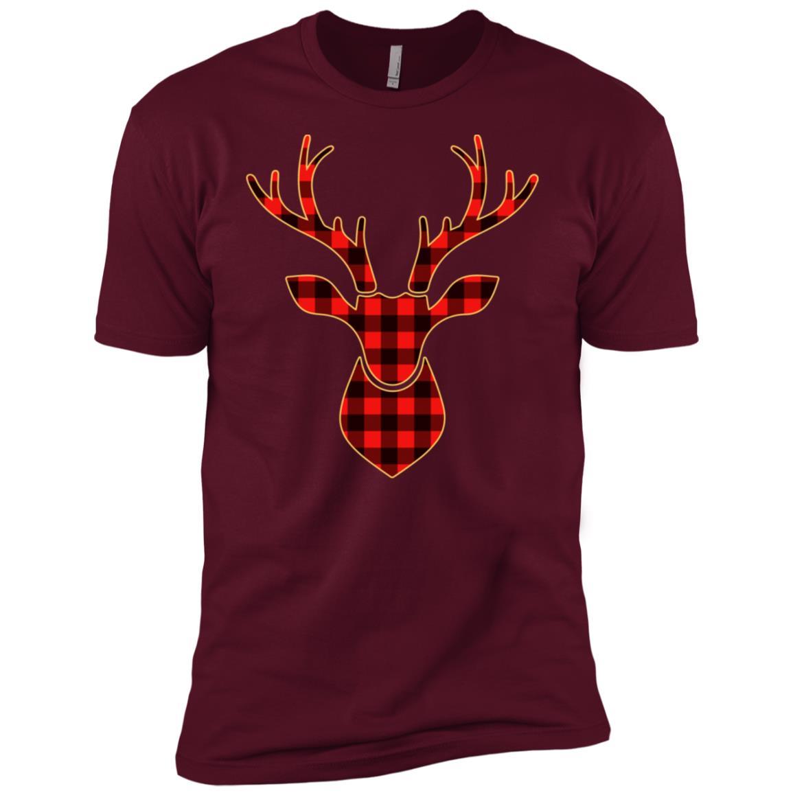 Plaid Reindeer Matching Buffalo Family Pajama Men Short Sleeve T-Shirt