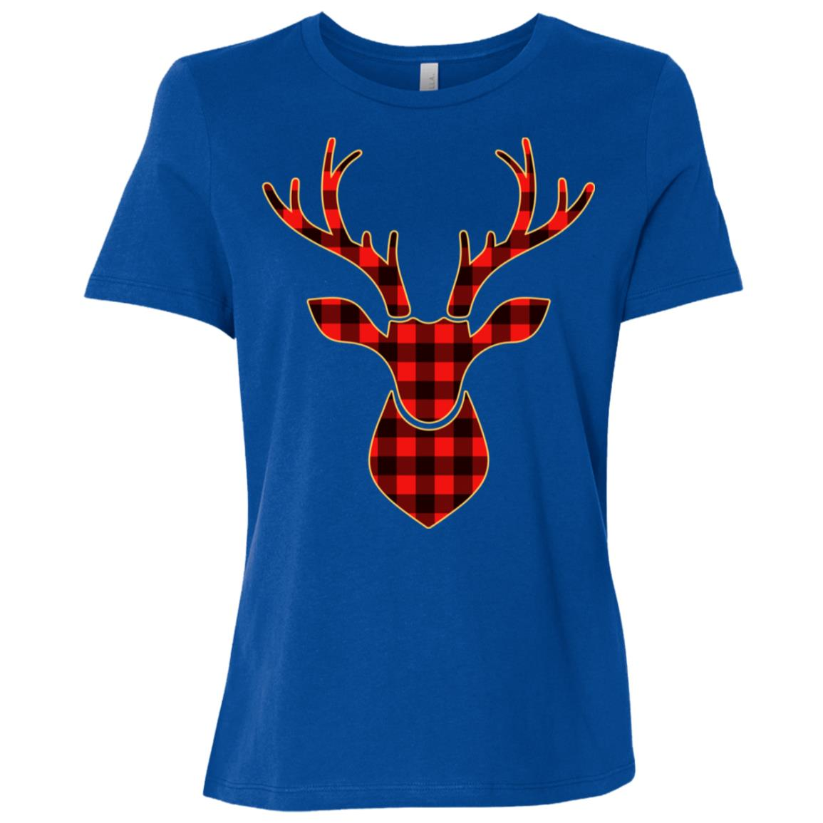Plaid Reindeer Matching Buffalo Family Pajama Women Short Sleeve T-Shirt