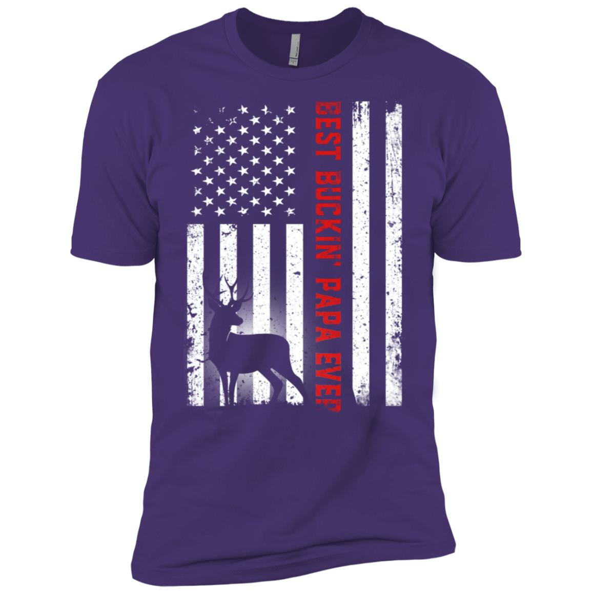Usa Flag Best Buckin' Papa Ever Deer Hunting Fathers Gift Men Short Sleeve T-Shirt