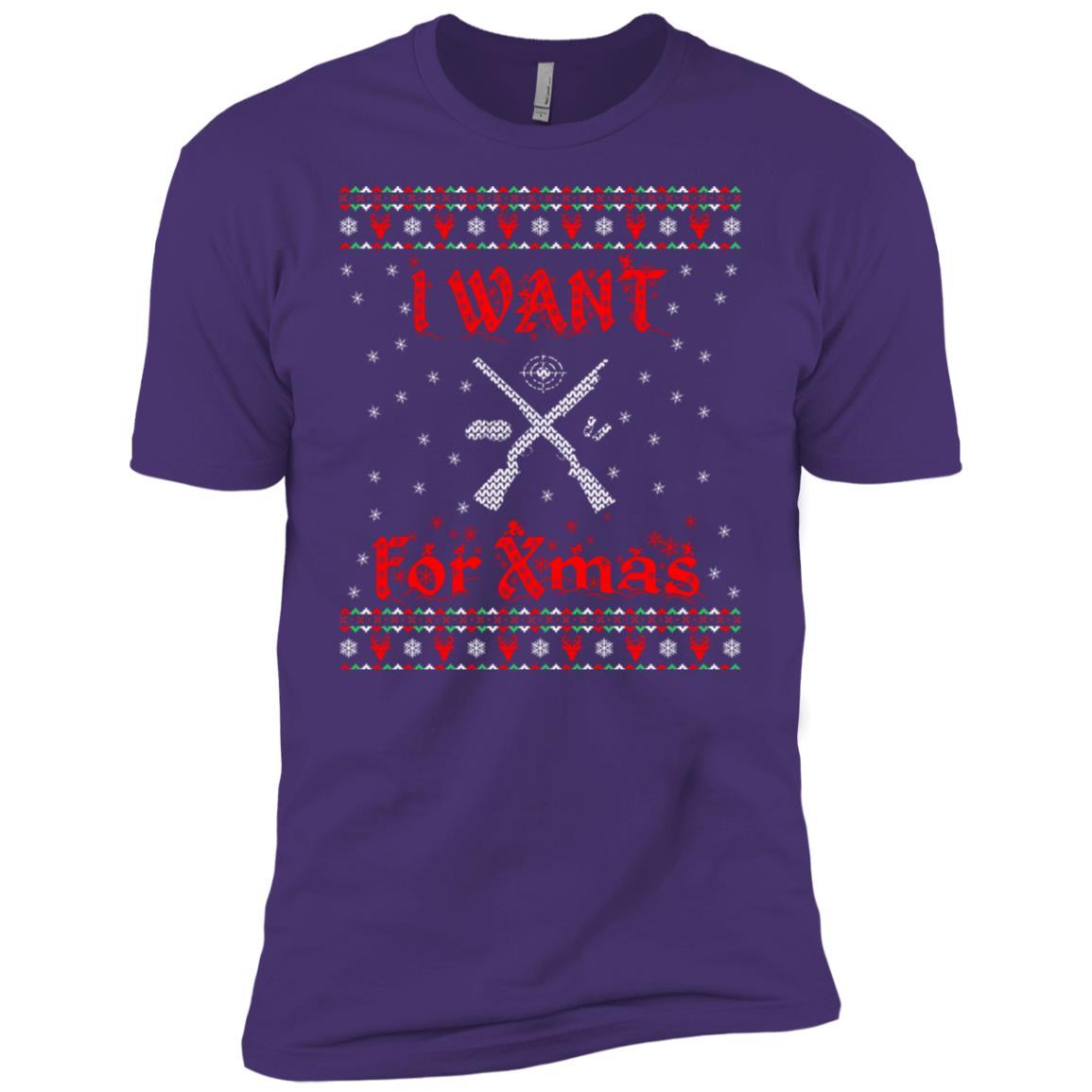 I Want Hunting For Xmas Christmas Gift Men Short Sleeve T-Shirt