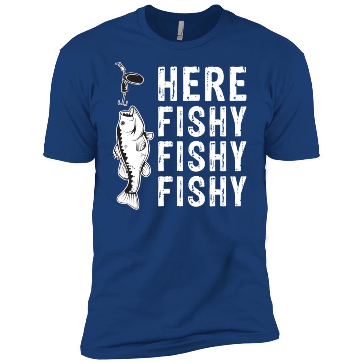 Here Fishy Fishy Fishy Tee Funny Outdoor Hunting Men Short Sleeve T-Shirt