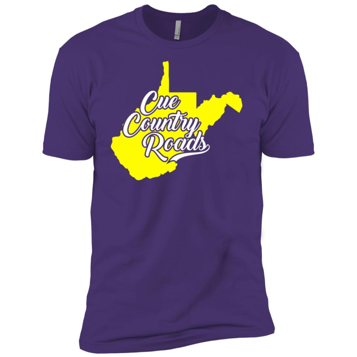 Cue Country Roads Wv Blue and Gold Men Short Sleeve T-Shirt