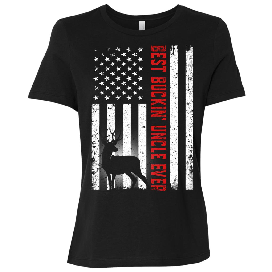 Usa Flag Best Buckin' Uncle Ever Deer Hunting Fathers Gift Women Short Sleeve T-Shirt