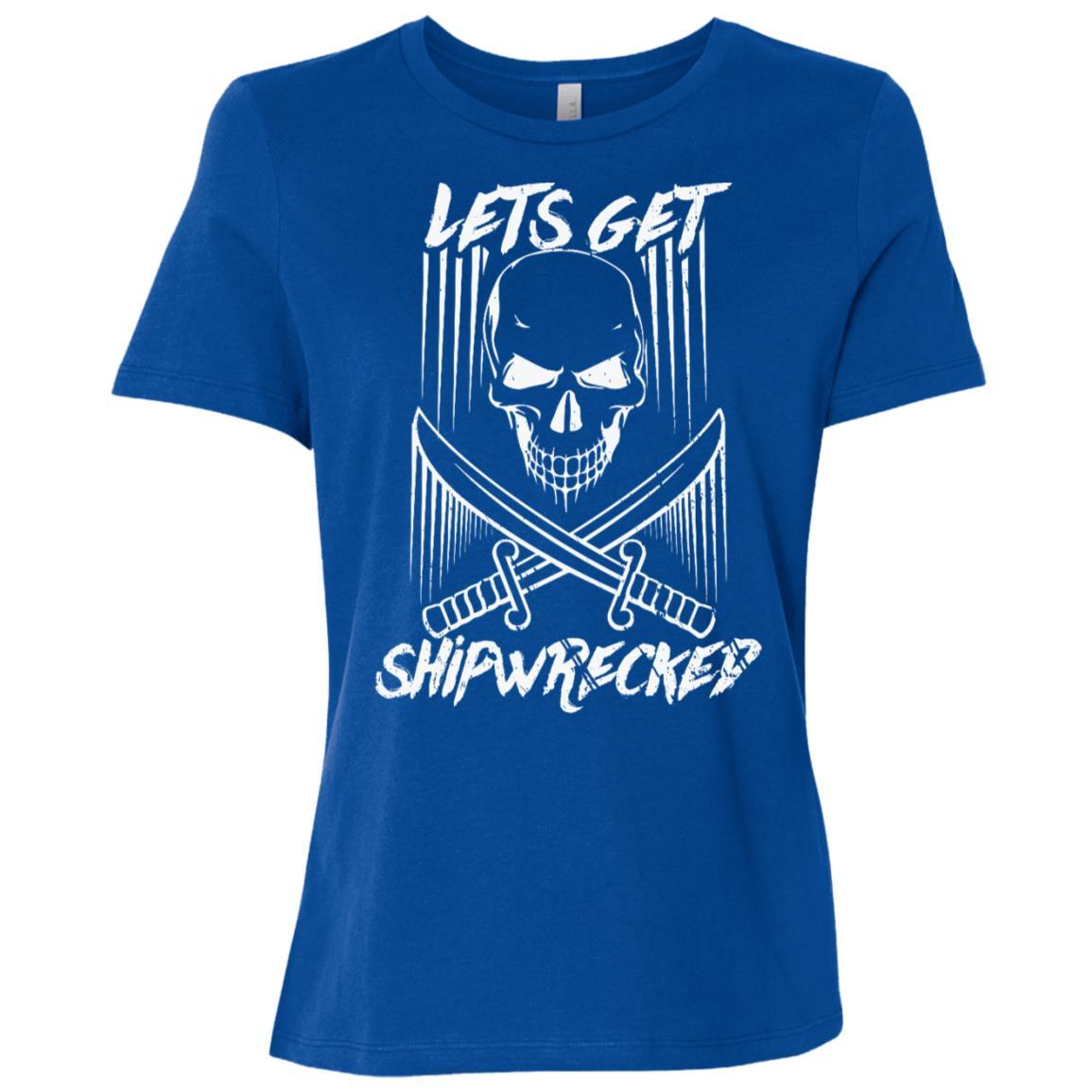 Lets Get Shipwrecked, Gasparilla Skull Drinking Women Short Sleeve T-Shirt