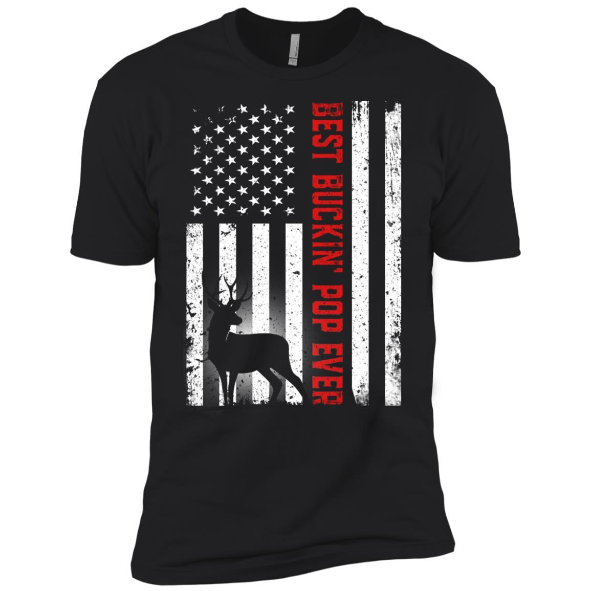 Usa Flag Best Buckin' Pop Ever Deer Hunting Fathers Gift Men Short Sleeve T-Shirt