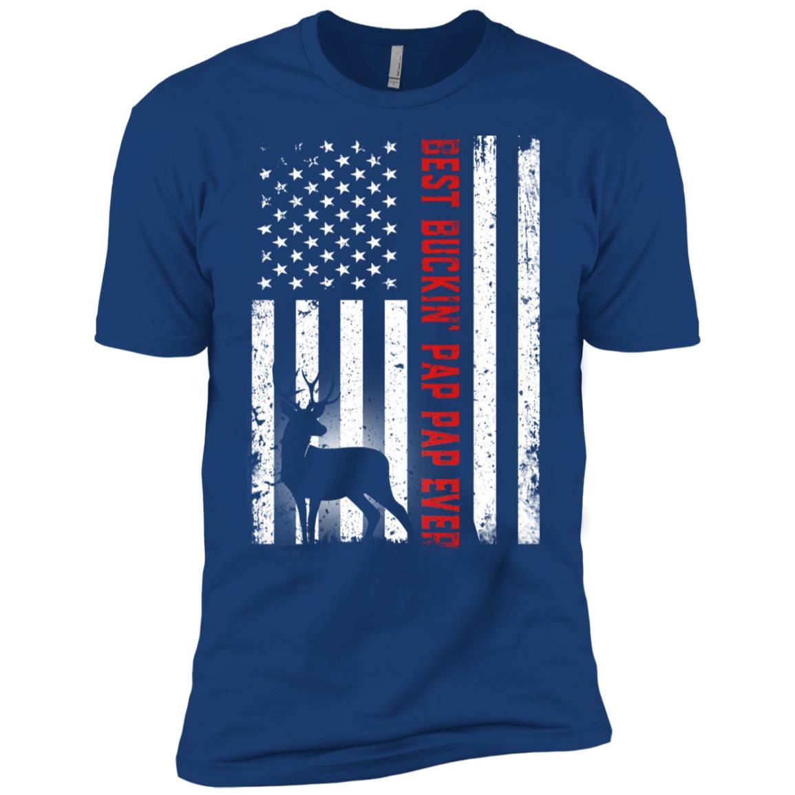Usa Flag Best Buckin' Pap Pap Ever Deer Hunting Fathers Gift Men Short Sleeve T-Shirt