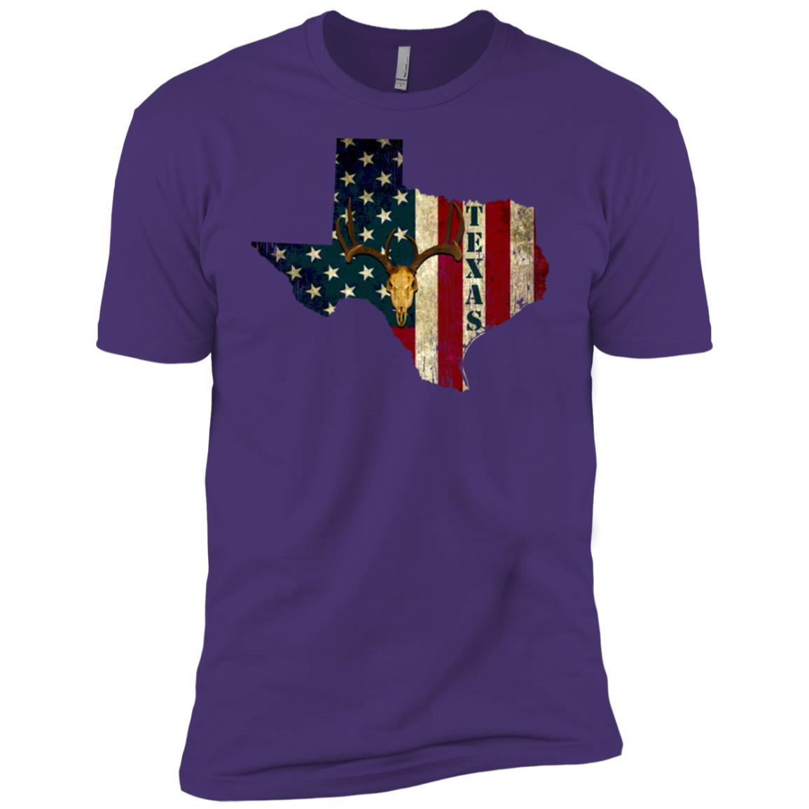 Texas Deer Hunting Usa Flag Gift Men Men Short Sleeve T-Shirt