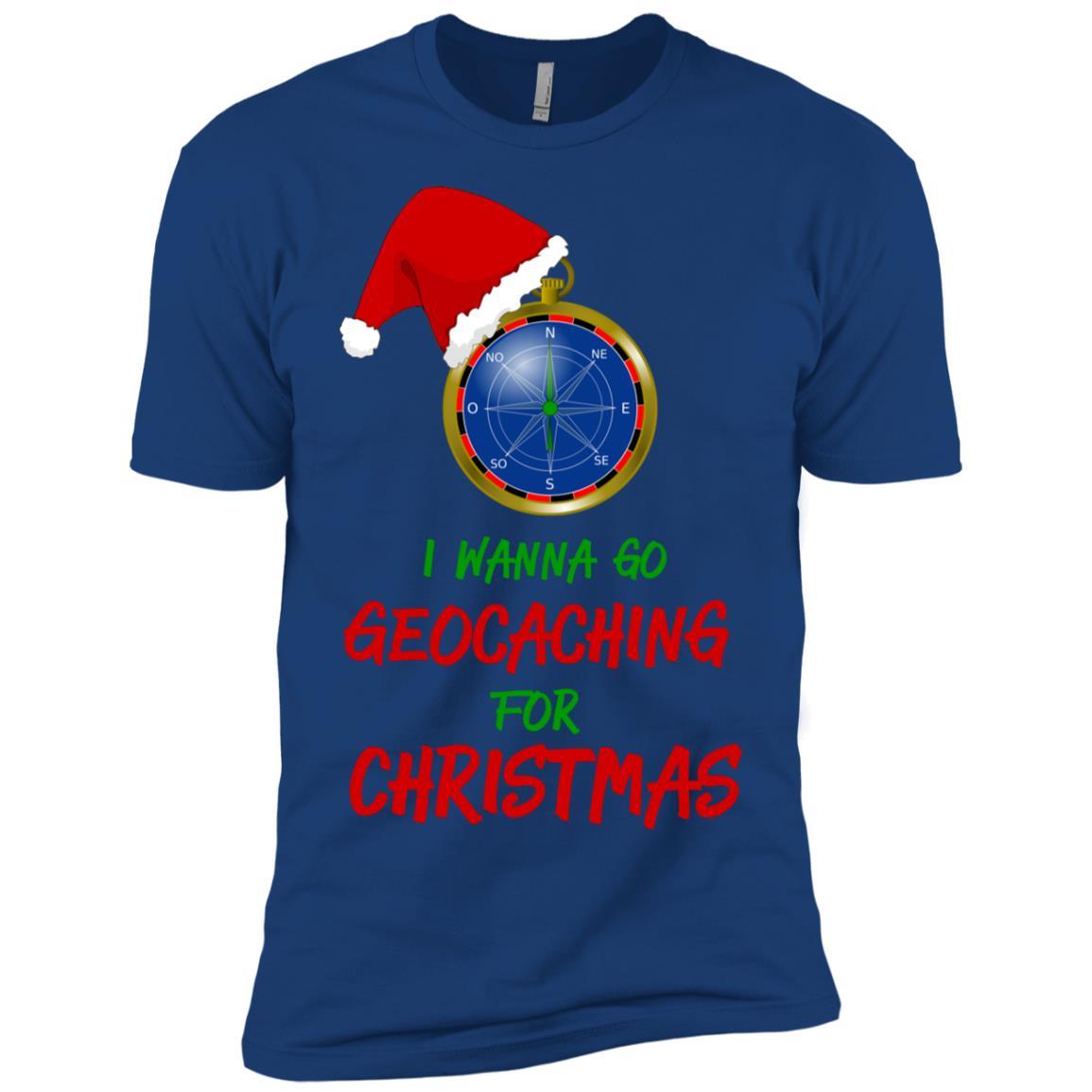 I Wanna Go Geocaching For Christmas Treasure Hunt Fun-1 Men Short Sleeve T-Shirt