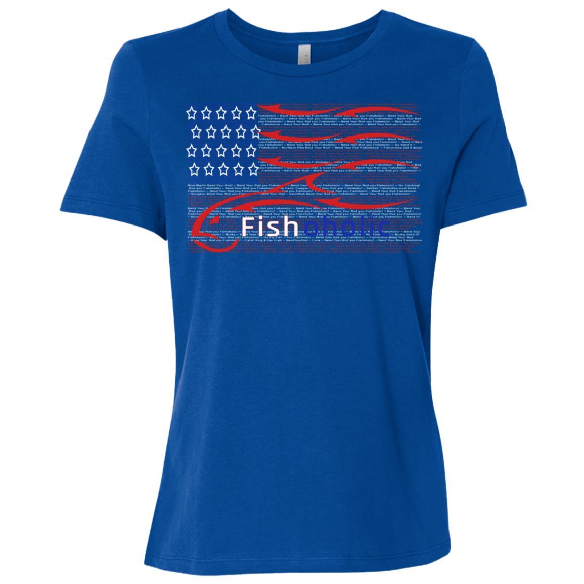 Usa flag Fishing. Hidden Fish Words Bend Your Rod Women Short Sleeve T-Shirt