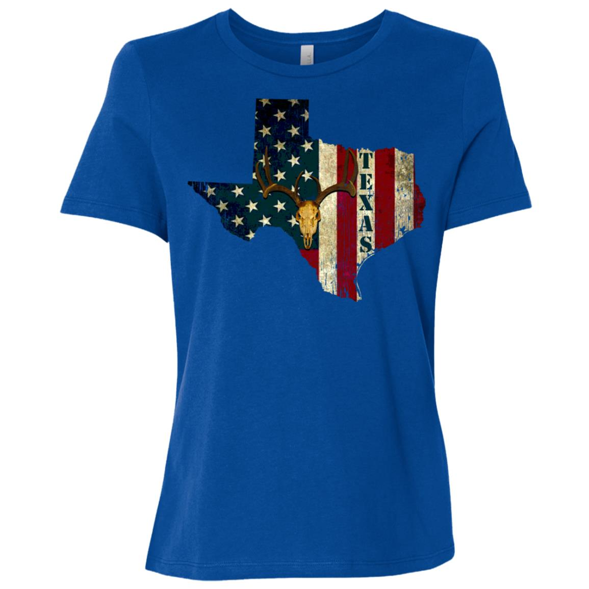 Texas Deer Hunting Usa Flag Gift Men Women Short Sleeve T-Shirt